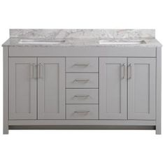 Capture the attention of any guest that enters your home with the modern Home Decorators Collection 61 in. W Westcourt vanity cabinet in Sterling Gray with Cultured Marble Vanity Top in White and mirrors. Finished with 4 shaker style doors and 4 cent Gray Vanity, Vanity Sink, Bath Vanities, Vanity Cabinet, 60 Inch Vanity, Sterling Grey, Shaker Style Doors, Marble Vanity Tops, Engineered Stone