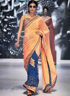 e37ed73c42644 Designer Orange And Blue Chinnon Chiffon And Net Half N Half Saree. Online  Chiffon Designer Saree At Sri Lanka.