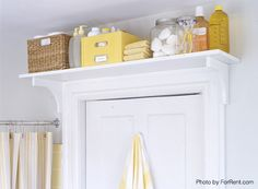 Small Bath Storage - Storage Above the Door. Add A Shelf Above The Door Another secret storage place you probably never thought of is the unused space above your bathroom door. You may think it's a hard-to-reach place, but think twice. Isn't it the perfect spot for storing chemical cleaners you want to keep away from your kids?  By simply adding a shelf above your doorframe, you can boost your small bathroom as well as child safety.