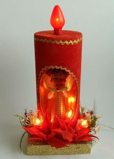 Vtg Commodore Plastic Angel Candle Lite Lighted Centerpiece Christmas Decor Box