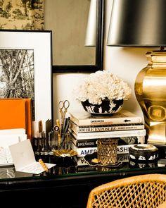 #black #gold #work #desk #fashionista