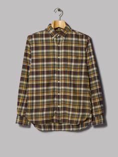 Beams Plus Button Down Raised Twill Check Shirt (Brown)
