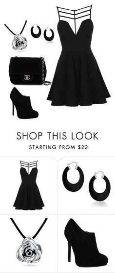 """""""Black"""" by elizabethcarter2003 ❤ liked on Polyvore featuring Topshop, Bling Jewelry and Chanel"""