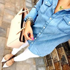 IG @mrscasual <click through to shop this look> jcrew chambray shirt. White skinny jeans. Valentino rockstud ballerina flats. Tory burch York buckle tote. Monogram necklace.