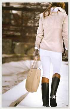 Riding boots and winter white