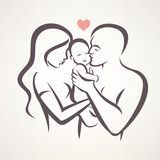 Vector: happy family stylized vector symbol, young parents and baby
