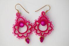 Frivolity to the shuttle Tatting Earrings, Tatting Jewelry, Lace Earrings, Bridal Earrings, Crochet Earrings, Needle Tatting, Tatting Lace, Needle Lace, Bobbin Lace