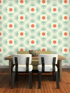 Orla Kiely Wallpaper - Striped Petal