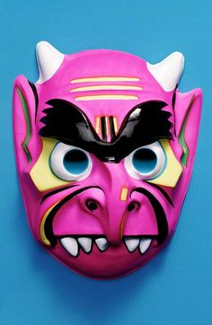 pink devil demon with horns and massive eyebrows -- vintage retro plastic Halloween mask Old Halloween Costumes, Ghost Costumes, Halloween Items, Halloween Skeletons, Halloween Masks, Vintage Costumes, Halloween Labels, Outdoor Halloween, Halloween Pumpkins