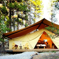 My idea of roughing it when camping is no H B O. But this looks interesting..