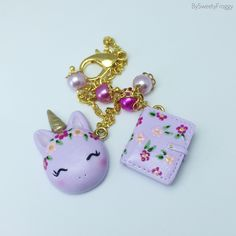 Polymer clay charm , unicorn , planner , violet , bloom , fleurs , gold , kikki k mint perforated , by Sweety Froggy , Etsy shop , Fimo , perles