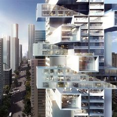 Architect Ole Scheeren is proposing a radical overhaul with his 1500 West Georgia high-rise residential project in Vancouver, Canada. Vancouver Architecture, A As Architecture, Sustainable Architecture, Building Information Modeling, Jenga Tower, Vancouver Apartment, Vancouver Skyline, Downtown Vancouver, Georgia Street