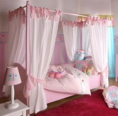baby girl bedroom themes four post bed sidetable table lamp cabinet curtain carpet stuffed animals toys carpet hardwood floors traditional design of Fabulous Baby Girl Bedroom Themes to Adopt Simple Girls Bedroom, Kids Bedroom Sets, Bedroom Themes, Bedroom Ideas, Bedroom Romantic, Childs Bedroom, Small Bedrooms, Bedroom Decor, Girls Room Design