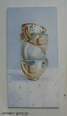 'TEA WITH FRIENDS', Tea Cups painting original ooak still life art FREE usa shipping. by WitsEnd available on Etsy.