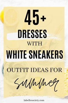 White Sneakers with Dress |  My favorite summer style is the white sneakers with dress duo. The classic white sneaker style is timeless, casual and cute. Paired with a summer dress, white shoes are the ultimate fashion statement for summer and spring. #whitesneakers #whitesneakersoutfit ##whitesneakerswithdress #dress #summeroutfits #sneakersstyle #whiteshoes