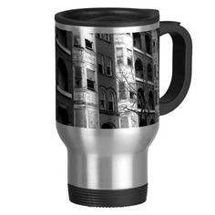 Old Apartment Buildings B/W Coffee Mug   •   This design is available on t-shirts, hats, mugs, buttons, key chains and much more   •   Please check out our others designs