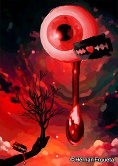 """Ilustracion del cuento titulado """"La lagrima indecisa"""" (The Indecisive Tear) del libro: El Santuario que Arde"""" de Hernán Ergueta"""