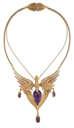 Clutched in the bird's beak and claws are four bespoke-cut Gemfields Zambian Amethysts totaling 52.25ct - precious gemstones of a mesmerizing purple, ethically sourced from Gemfields' Amethyst mine in Zambia. Handcrafted in DUFFY'S East London ATELIER  each detailed feather on the Odyssey necklace has been carefully hewn from 18ct rose gold, the colour of which brings out the vivid purple of those incredible Amethysts . The bird's wings are set with 1.08ct of white Diamonds.   £ 42,000