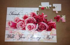 A personal favourite from my Etsy shop https://www.etsy.com/uk/listing/264572945/personalised-jigsaw-will-you-marry-me