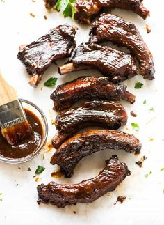 fall-off-the-bone tender Slow Cooker Ribs from @wellplated
