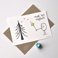 kerstkaart 'maak het magisch'   Kerstkaarten   Studio Woulie Harry Potter Birthday Cards, 1 Year Anniversary Gifts, Christmas Drawing, Diy Christmas Cards, New Year Wishes, Little Gifts, Diy Cards, Homemade Cards, Diy For Kids