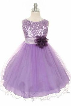 5a9d2a312 $56.63-Lovely Tea-Length Floral Sequins&Satin Purple Junior Bridesmaid  Dress with Belt