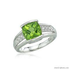 Peridot Rings | ... Cut Peridot & Wide Diamond Row Split Shank Ring in White Gold Rings