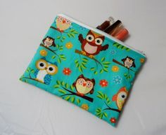Owls on Blue Fabric Make Up Bag or Pencil Case - Free P&P £7.50 Conkers, Blue Fabric, October 2013, June, Owls, Coin Purse, Handmade Items, Pencil, Make Up