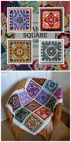 Photos © Christine Bateman Joyful and very colorful squares to use for new projects. They are very pleasant and easy to crochet. You can make them in any shades and colors. Get inspired by my article. Crochet Squares Afghan, Crochet Quilt, Crochet Blocks, Afghan Crochet Patterns, Crochet Motif, Crochet Stitches, Free Crochet, Knitting Patterns, Knit Crochet