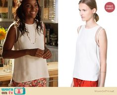 Lynly's white mesh inset top on Hart of Dixie. Outfit Details: http://wornontv.net/20217 #HartofDixie #TheCW #Zara