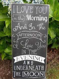 I LOVE YOU in the Morning, Hand Painted Wood Sign, Home Decor, Chalkboard Style on Etsy, $45.00