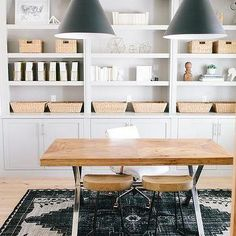 Simple and chic office design with build-in shelves + black pendants | House of Jade Interiors