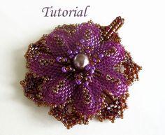 Tutorial Everlasting flower pendant  Beading pattern PDF by Ellad2