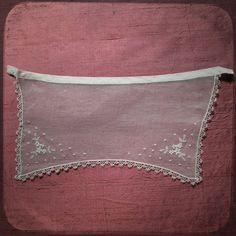 Antique French White Collar or Apron Lace embroidered net