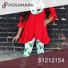 JUST IN! Red & green reindeer boutique outfit These are sure to be your little princess' favorite outfit this holiday season! Comfortable and trendy, a red high-low ruffle tunic paired with reindeer printed leggings and a scarf to finish the look! High quality, super soft with comfortable stretch. Emma & Eden Co. Matching Sets