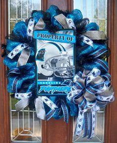 Carolina Panthers Mesh Wreath by JenniferzWreaths on Etsy