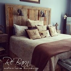 Custom Made Barnwood Headboard Interior Design | Rustic Home |  barn door | Rustic Bedroom