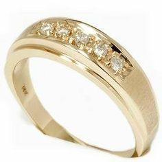 Mens .15CT 14K Yellow Gold Diamond Wedding Ring Band Pompeii3 Inc.. $399.00