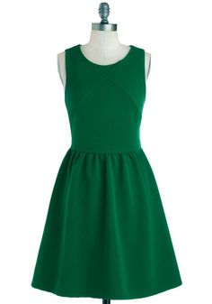 Sugar Snap Please Dress - Green, Solid, Casual, A-line, Tank top (2 thick straps), Good, Mid-length, Woven, Minimal, Scoop #plussize #ModCloth