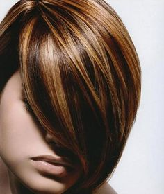 dark-brown-lowlights-and-highlight-hair-color-with-side-bangs-for-short-hair.jpg (762×905)