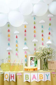 Throw a shower-themed baby shower! #ctmh #cricut #closetomyheart #babyshowerideas #showertheme #rain #clouds #springtime #babies #pregnancy