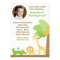 Jungle Animals Birthday Party Invitation