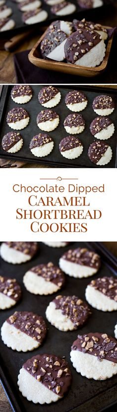 These Chocolate Dipped Caramel Shortbread Cookies are a delicious, sandy, buttery, caramel shortbread cookie dipped in chocolate and sprinkled with Heath toffee bits.