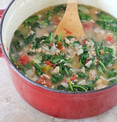 20 Minute Turkey, Bean and Spinach Soup { healthy soup recipe } - Rachel Cooks