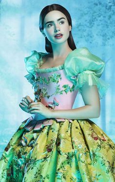 Lily Cole in fairy-tale glamor as Snow White in #MirrorMirror with costumes by the late Oscar-winner Eiko Ishioka