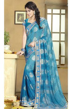 Sea Blue Color #Designer #Printed #Party Wear Saree With Blouse At Skysarees.