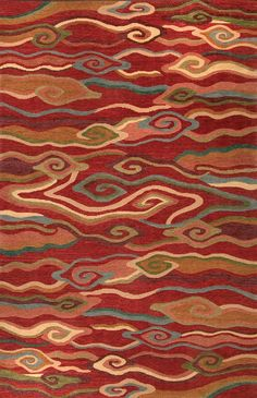 Tibetan Hand-knotted Area Rug: Swirling Clouds Red - A Rug For All Reasons Diy Carpet, Modern Carpet, Rugs On Carpet, Carpet Ideas, Wall Carpet, Stair Carpet, Tibetan Rugs, Tibetan Art, Dunhuang