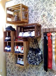 Anthropologie store display: crates hanging on the walls