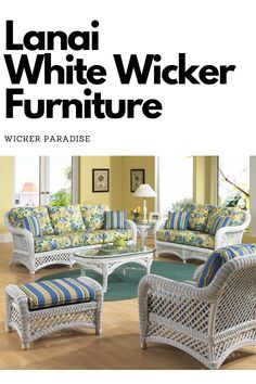 White wicker furniture with your choice of fabric! Available pieces include sofas, chairs, rockers, end tables, coffee tables, loveseats, chaise lounges and a matching dining set. Our best seller for natural white wicker furniture. Wicker Porch Furniture, End Tables, Coffee Tables, Lanai, Dining Set, Love Seat, Paradise, Chaise Lounges, Rockers