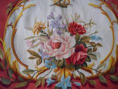 ONE ANTIQUE FRENCH  AUBUSSON TAPESTRY  FLORAL DECOR